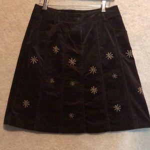 Brown Corduroy ALine Skirt Suede Look Sz 8 Fall